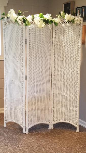 White Wicker Dressing Screen Props Gallery